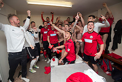 Brechin City's dressing room at the end. Alloa Athletic 4 v 3 Brechin City (Brechin won 5-4 on penalties), Ladbrokes Championship Play-Off 2nd Leg at Alloa Athletic's home ground, Recreation Park, Alloa.