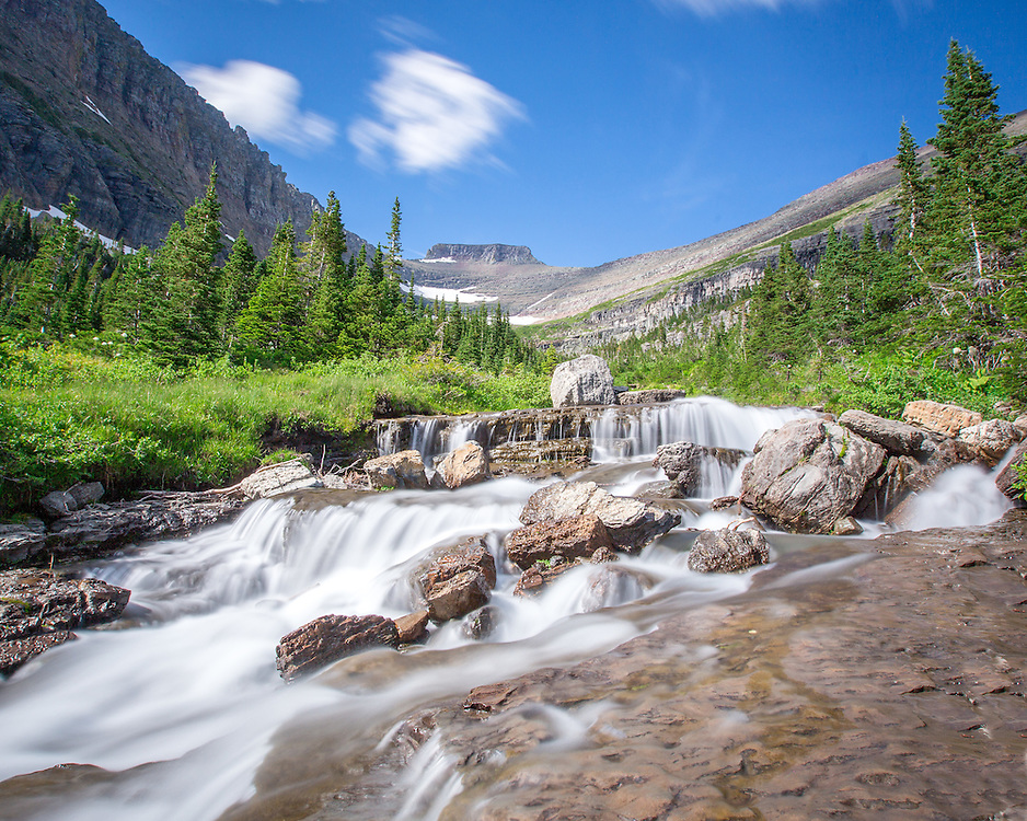 Water rushes down Lunch Creek in Glacier National Park.