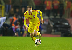 BRUSSELS, BELGIUM - Sunday, November 16, 2014: Wales' Chris Gunter in action against Belgium during the UEFA Euro 2016 Qualifying Group B game at the King Baudouin [Heysel] Stadium. (Pic by David Rawcliffe/Propaganda)