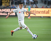 Los Angeles FC midfielder Eduard Atuesta moves the ball against New York City during a MLS soccer match in Los Angeles, Sunday, May 13, 2018. The game ended in a 2-2 tie. (Ed Ruvalcaba/Image of Sport)