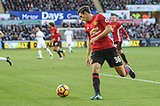 Matteo Darmian of Manchester United during the Premier League match between Swansea City and Manchester United at the Liberty Stadium, Swansea, Wales on 6 November 2016. Photo by Andrew Lewis.
