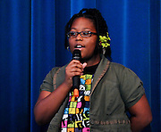"10/26/09  -  Atlanta, Ga :  Students at Sagamore Hills Elementary School including Serenity Greenhoward singing ""Breakaway"" perform their skits during the 2009 talent show featuring dance, music, comedy and other performances for the annual Showcase of Stars on Monday, October 26, 2009. Director Nancy Briggs, and assistant directors Joe Scivicque and Teresa Libbey helped produce more than 30 acts.     David Tulis         dtulis@gmail.com    ©David Tulis 2009"