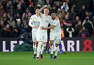 Alfie Mawson of Swansea City celebrates after scoring the opening goal with Neil Taylor (right) during the Premier League match at Selhurst Park, London<br /> Picture by Alan Stanford/Focus Images Ltd +44 7915 056117<br /> 03/01/2017