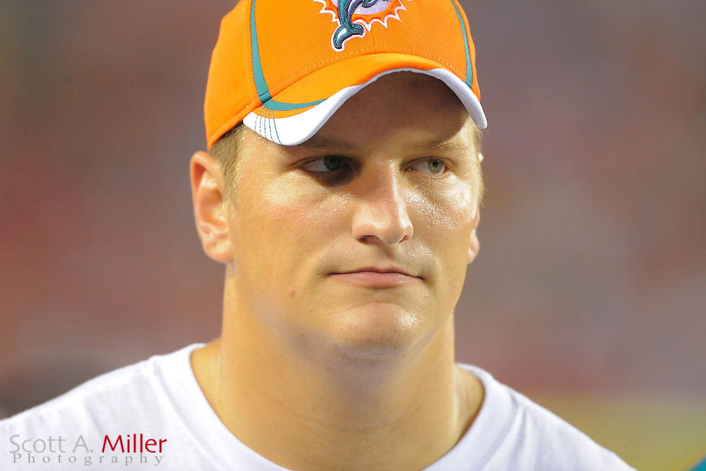 Miami Dolphins offensive tackle Jake Long (77) during the Dolphins against the Tampa Bay Buccaneers at Raymond James Stadium on Aug. 27, 2011 in Tampa, Fla...(SPECIAL TO FOX SPORTS.COM/Scott A. Miller)