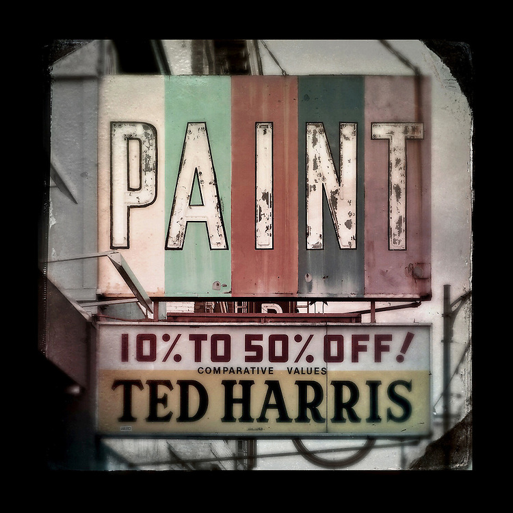 "Charles Blackburn image of the Ted Harris Paint sign in Vancouver, BC. 5x5"" print."