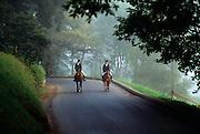 Ireland, County Kilkenny, Mount Juliet, Thomastown, two women riding horses
