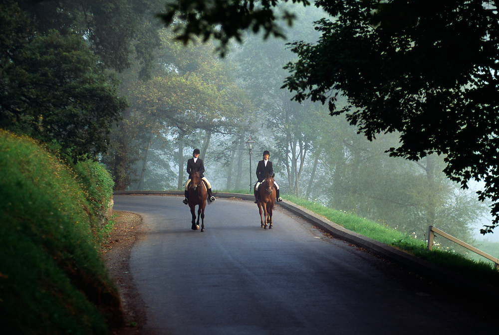Ireland, County Kilkenny, Mount Juliet, Thomastown, two women riding horses