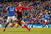 Rangers Alfredo Morelos on the ball during the Ladbrokes Scottish Premiership match between Rangers and Kilmarnock at Ibrox, Glasgow, Scotland on 16 March 2019.