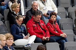 WERTH Isabell (GER), KOENLE Marc (Mannschaftstierarzt); THEODORESCU Monica (Bundestrainer Dressur GER)<br /> Göteborg - Gothenburg Horse Show 2019 <br /> FEI Dressage World Cup™ Final I<br /> Int. dressage competition - Grand Prix de Dressage<br /> Longines FEI Jumping World Cup™ Final and FEI Dressage World Cup™ Final<br /> 05. April 2019<br /> © www.sportfotos-lafrentz.de/Stefan Lafrentz