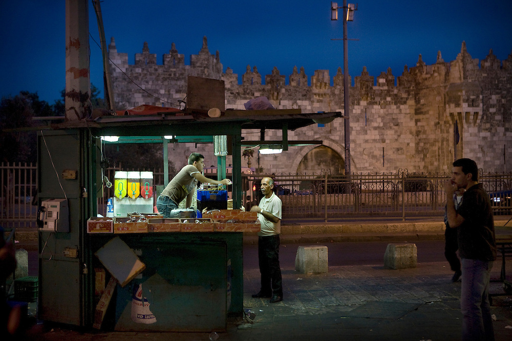 A street stall positioned  just outside Damascus Gate in East Jerusalem on Thursday 21st May 2008