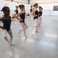Bailee Allen, front left, and other third graders begin their audition for this year's Nutcracker at Tupelo Balet on Sunday.