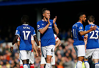 Football - 2018 / 2019 Premier League - Everton vs. Arsenal<br /> <br /> Everton goalscorer Phil Jagielka applauds the crowd at the end of the game, at Goodison Park.<br /> <br /> COLORSPORT/ALAN MARTIN