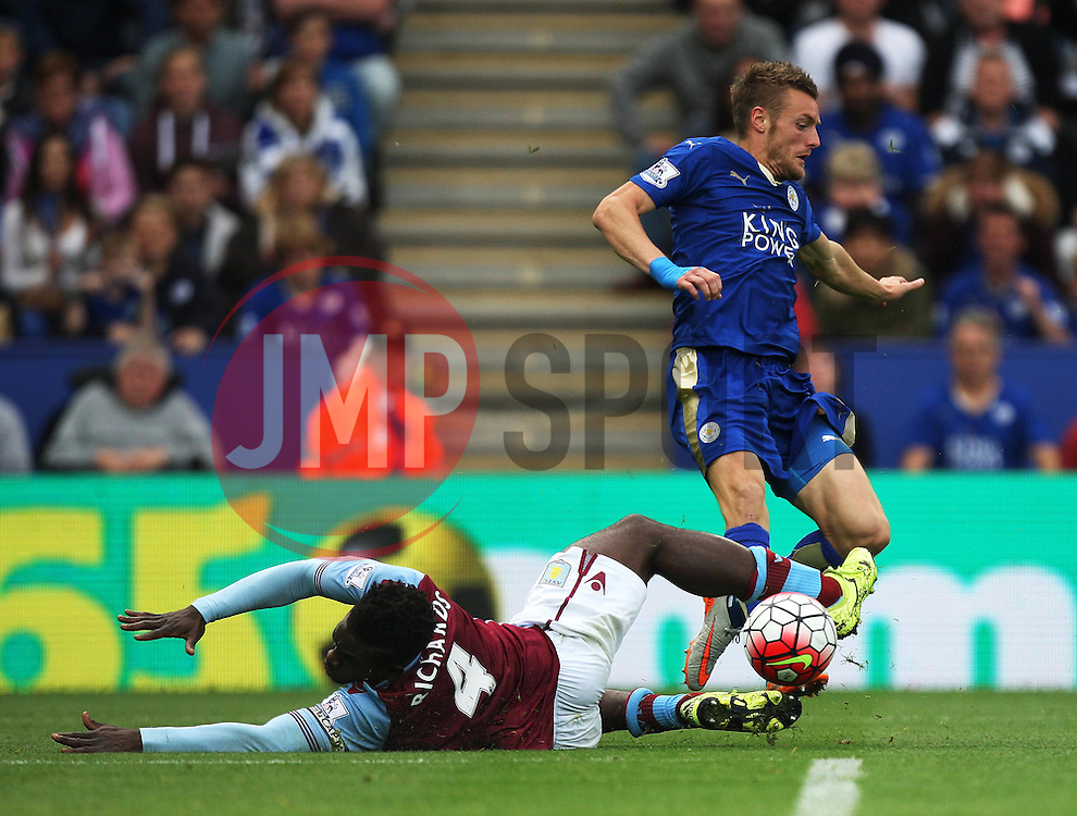 Micah Richards of Aston Villa (L) tackles Jamie Vardy of Leicester City  - Mandatory byline: Jack Phillips/JMP - 07966386802 - 13/09/2015 - SPORT - FOOTBALL - Leicester - King Power Stadium - Leicester City v Aston Villa - Barclays Premier League