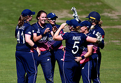 England Women celebrate Danielle Wyatt of England running out Trisha Chetty of South Africa Women - Mandatory by-line: Robbie Stephenson/JMP - 05/07/2017 - CRICKET - County Ground - Bristol, United Kingdom - England Women v South Africa Women - ICC Women's World Cup Group Stage