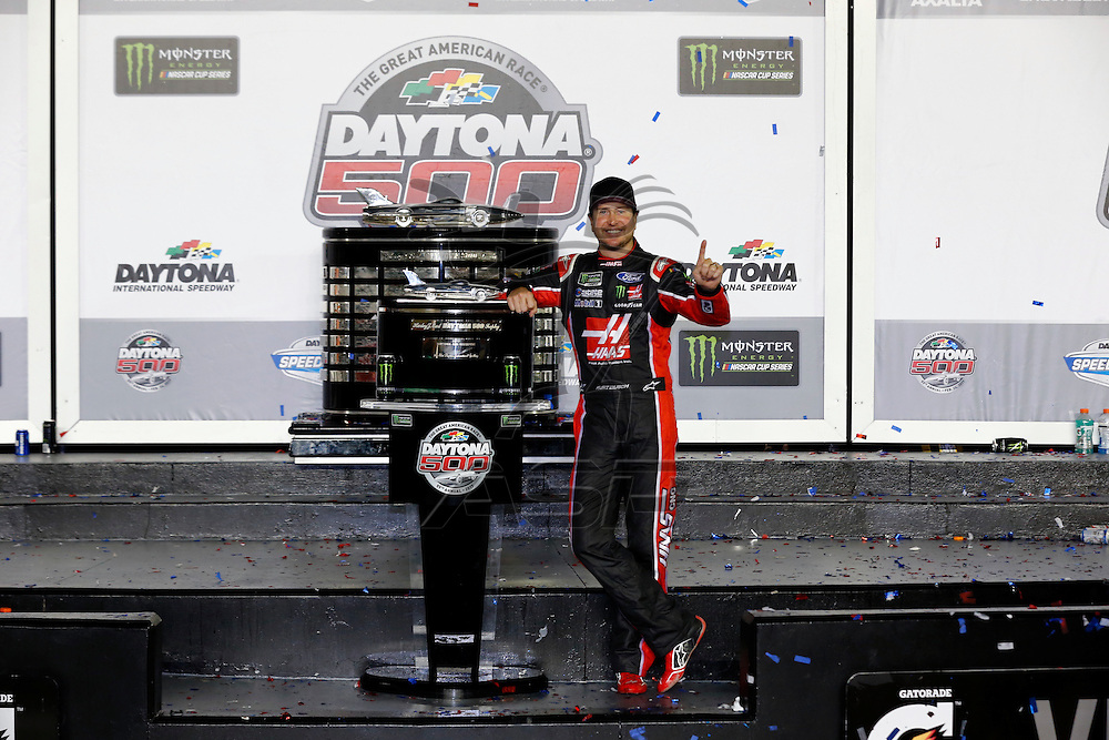 February 26, 2017 - Daytona Beach, Florida, USA: Kurt Busch (41) takes photos in victory lane after winning the Daytona 500 at Daytona International Speedway in Daytona Beach, Florida.