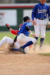 15 February 2007: Ryan Strausberger applies the tag out to Kevin Dubler. Indiana State Sycamores gave up the first game of the double-header by a score of 16-6 to the Illinois State Redbirds at Redbird Field on the campus of Illinois State University in Normal Illinois.
