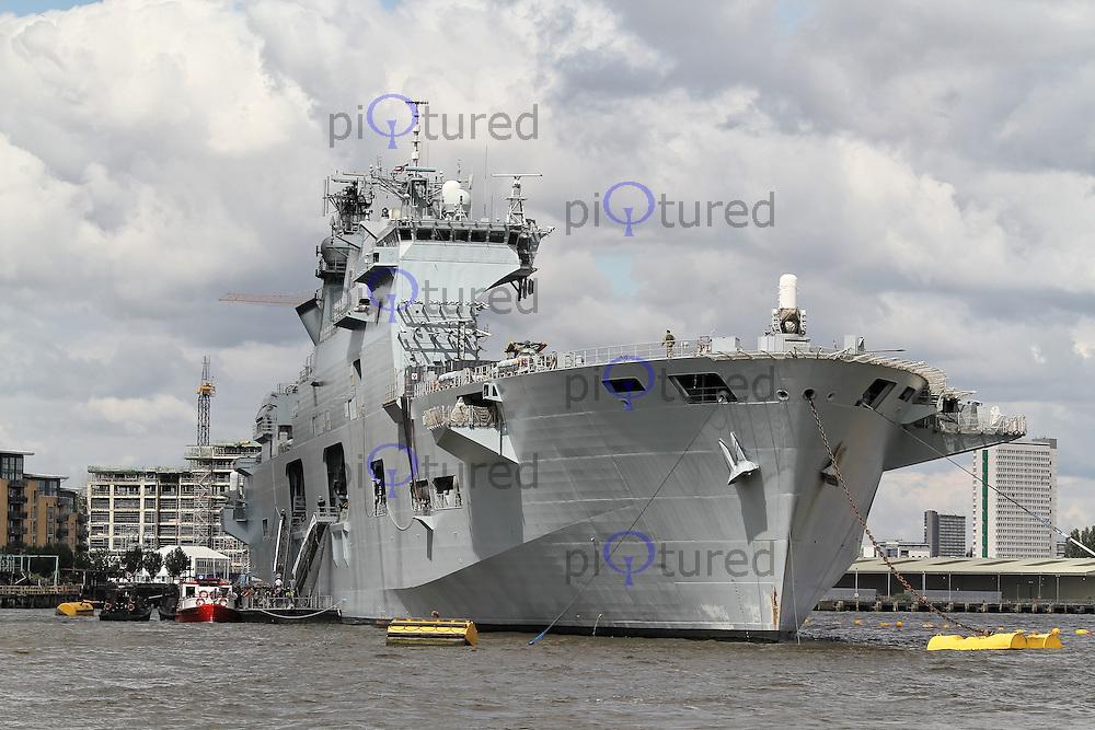 GREENWICH - JULY 15: HMS Ocean, providing London 2012 Olympic Games Security, Greenwich, London, UK. July 15, 2012. (Photo by Richard Goldschmidt)