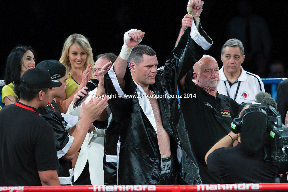 Kali `Mean Hands` Meehan wins his fight against Shane `The Mountain Warrior` Cameron in the Mahindra Super 8 Fight Night, North Shore Events Centre, Auckland, New Zealand, Saturday, November 22, 2014. Photo: David Rowland/Photosport