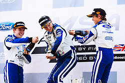 Lando Norris (R) 2nd place celebrations | #31 Carlin | MSA Formula Championship | Race 3 - Mandatory byline: Rogan Thomson/JMP - 07966 386802 - 09/08/2015 - MOTORSPORT - Snetterton Circuit - Norwich, England - BTCC Meeting Day 2.