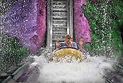 Duitsland, Bottrop, 17-7-2009Opspattend water op de waterbaan van het themapretpark Movie Park, movie world.Foto: Flip Franssen/Hollandse Hoogte