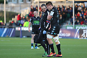 A Glasgow Warriors player is injured and leaves the field during the Heineken Champions Cup match between Glasgow Warriors and Cardiff Blues at Scotstoun Stadium, Glasgow, Scotland on 13 January 2019.