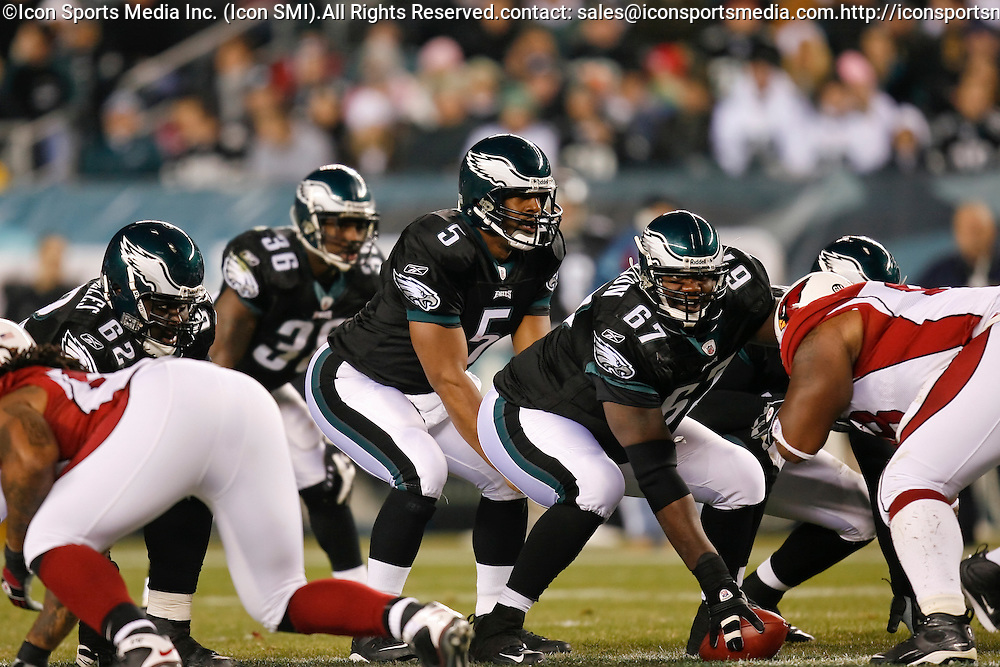 27 Nov 2008: Philadelphia Eagles quarterback Donovan McNabb #5 and offensive lineman Jamaal Jackson #67 during the game against the Arizona Cardinals on November 27th, 2008. The Eagles won 48 to 20 at Lincoln Financial Field in Philadelphia, Pennsylvania.