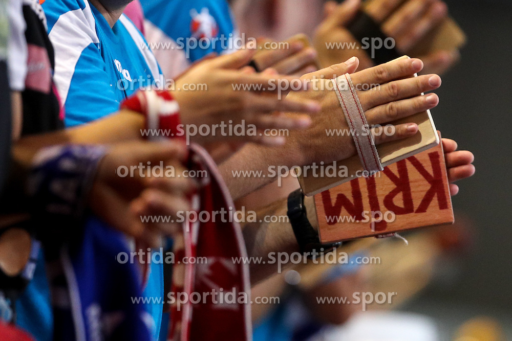 Fans of Krim during handball EHF Champion league qualifying match between RK Krim Mercator and Indeco Coversano, on September 11, 2016 in Kodeljevo, Ljubljana, Slovenia. Photo by Matic Klansek Velej / Sportida
