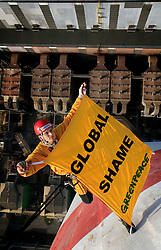 CZECH REPUBLIC PRUNEROV 22MAR10 - Greenpeace activists climb the 300 metre high smokestack of the Prunerov II brown coal-fired power station. The 12 protesters have hung a banner saying 'Global Shame' highlighting Prunerov II as the largest source of carbon dioxide emissions pollution in the Czech Republic...jre/Photo by Jiri Rezac / GREENPEACE