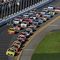 The race field is seen during the 58th Annual NASCAR Daytona 500 auto race at Daytona International Speedway on Sunday, February 21, 2016 in Daytona Beach, Florida.  (Alex Menendez via AP)