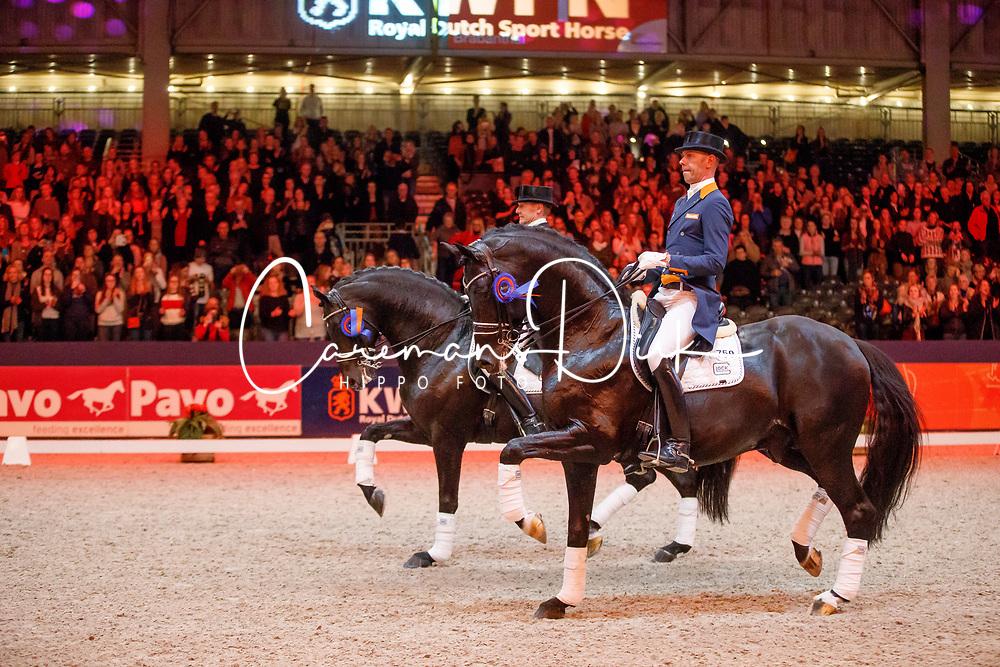 Gal Edward, NED, Glock's Zornik, Minderhoud Hans Peter, NED, Glock's Dream Boy<br /> KWPN Stallionshow - 's Hertogenbosch 2018<br /> © Hippo Foto - Dirk Caremans<br /> 02/02/2018
