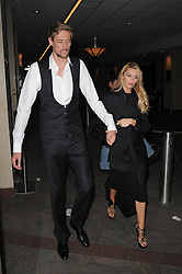 Peter Crouch and Abbey Clancy leaving The Hilton in London, UK. 07/05/2013<br />BYLINE MUST READ : GOTCHAIMAGES.COM<br /><br />Copyright by © Gotcha Images Ltd. All rights reserved.<br />Usage of this image is conditional upon the acceptance <br />of Gotcha Images Ltd, terms and conditions available at<br />www.gotchaimages.com