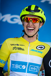 May 18, 2018 - Nevada, U.S - Friday, May 18, 2018.Race leader, KENDALL RYAN, of Team TIBCO - Silicon Valley Bank (USA), wearing the yellow jersey,  smiles as she is introduced prior to Stage 2 of the Amgen Tour of California Women's Race empowered with SRAM, which starts and finishes in South Lake Tahoe, California, near Heavenly Ski Resort. (Credit Image: © Tracy Barbutes via ZUMA Wire)