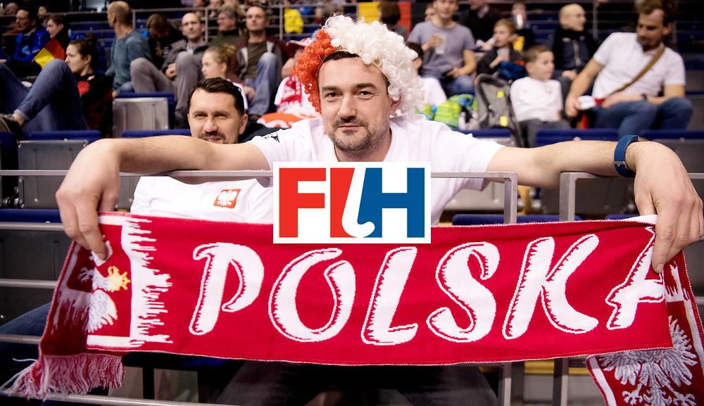 BERLIN - Indoor Hockey World Cup<br /> Women: Poland - Netherlands<br /> foto: Polish fans.<br /> WORLDSPORTPICS COPYRIGHT FRANK UIJLENBROEK
