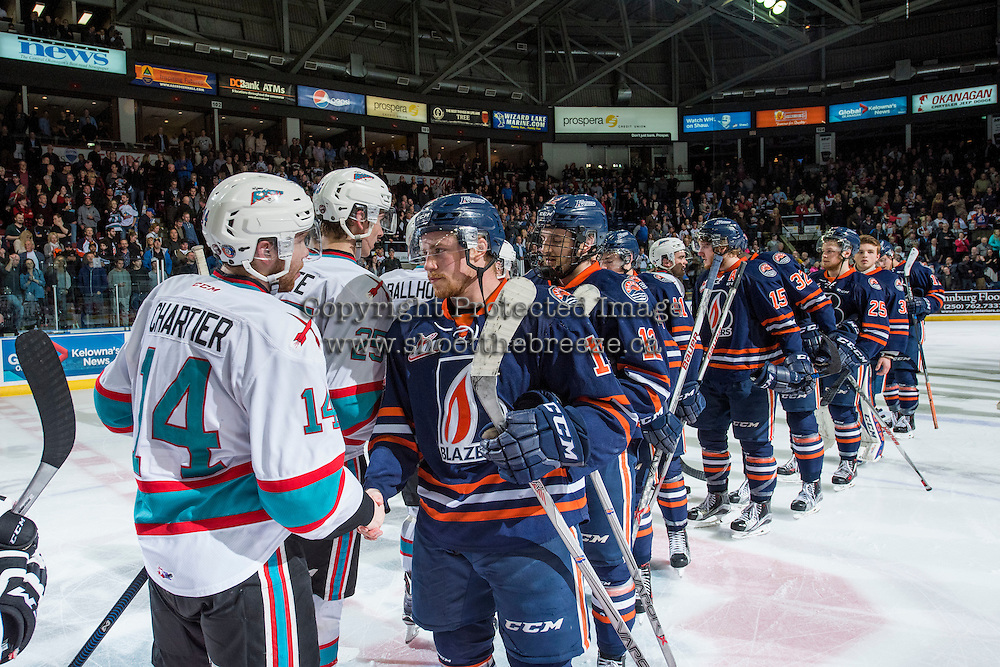 KELOWNA, CANADA - APRIL 4: The Kelowna Rockets shake hand with the Kamloops Blazers after winning the first round of the WHL playoffs in game 7 on April 4, 2016 at Prospera Place in Kelowna, British Columbia, Canada.  (Photo by Marissa Baecker/Shoot the Breeze)  *** Local Caption ***