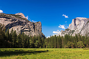 The Royal Arches and Half Dome above Stoneman Meadow, Yosemite National Park, California USA