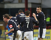 Nicky Riley  congratulates Colin Nish  on his goal - Dundee v Greenock Morton, William Hill Scottish Cup 5th Round at Dens Park .. - © David Young - www.davidyoungphoto.co.uk - email: davidyoungphoto@gmail.com