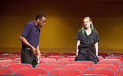 The Flick <br /> by Annie Baker <br /> at the Dorfman Theatre, National Theatre, Southbank, London, Great Britain <br /> 18th April 2016 <br /> <br /> Louise Krause as Rose<br /> <br /> Jaygann Ayeh as Avery <br /> <br /> <br /> Photograph by Elliott Franks <br /> Image licensed to Elliott Franks Photography Services