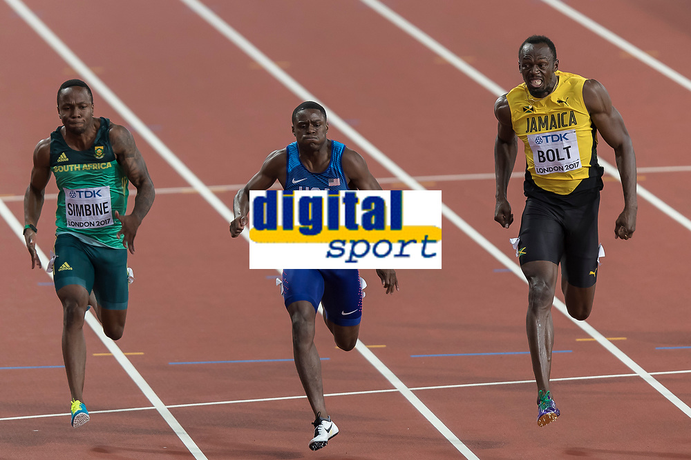 Athletics - 2017 IAAF London World Athletics Championships - Day Two, Evening Session<br /> <br /> Mens 100m Final <br /> <br /> Usain Bolt (Jamaica) looks to his right as Chris Coleman (United States) beats him across the line at the London Stadium<br /> <br /> COLORSPORT/DANIEL BEARHAM