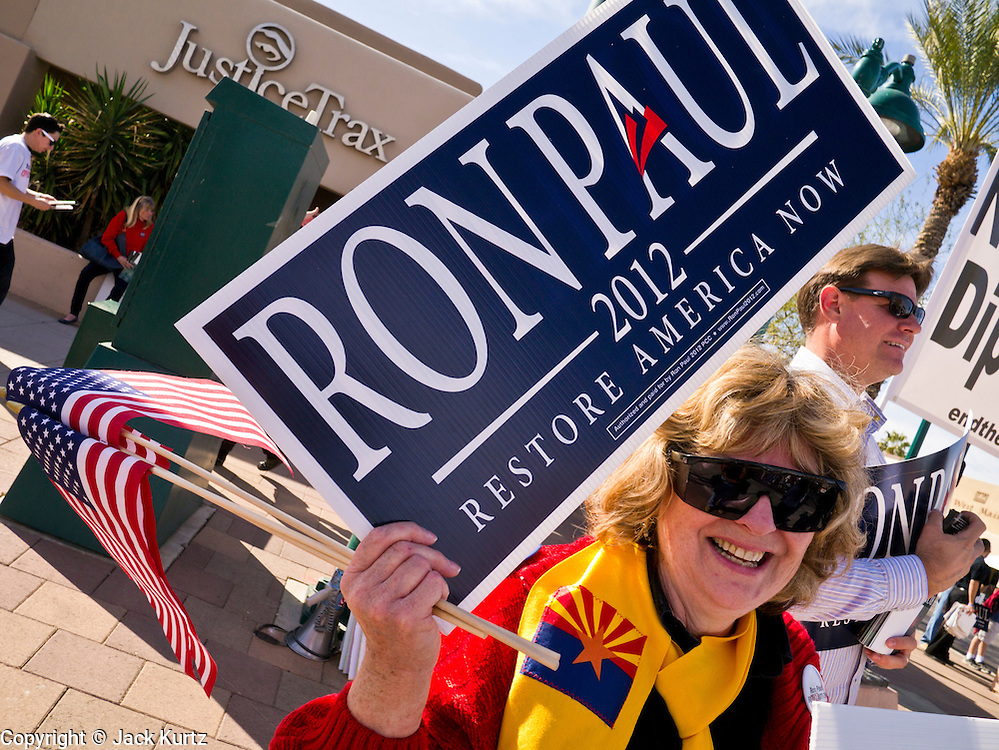 22 FEBRUARY 2012 - MESA, AZ:  Supporters of Congressman and Presidential candidate Ron Paul really in support of Congressman Paul Wednesday. Ron Paul supporters had hundreds of people in front of the Mesa Arts Center before CNN's Arizona Republican Presidential Debate Wednesday.    PHOTO BY JACK KURTZ