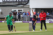 Mark Wood of England opens the bowling from the Pavillion end during the One Day International match between England and Ireland at the Brightside County Ground, Bristol, United Kingdom on 5 May 2017. Photo by Andrew Lewis.