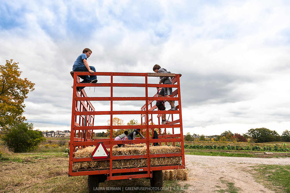 Children having fun on a hay ride in autumn.