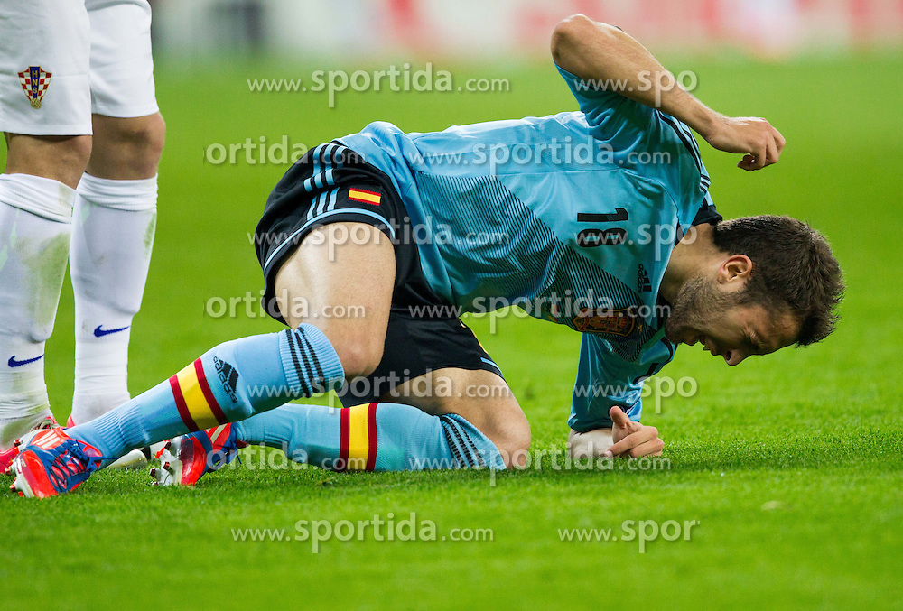 Jordi Alba of Spain injured during the UEFA EURO 2012 group C match between  Croatia and Spain at PGE Arena Gdansk on June 18, 2012 in Gdansk / Danzig, Poland. Spain defeated Croatia and qualified to Quarterfinals. (Photo by Vid Ponikvar / Sportida.com)