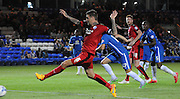Sonny Bradley misses from 6 yards during the Capital One Cup match between Peterborough United and Crawley Town at London Road, Peterborough, England on 11 August 2015. Photo by Michael Hulf.