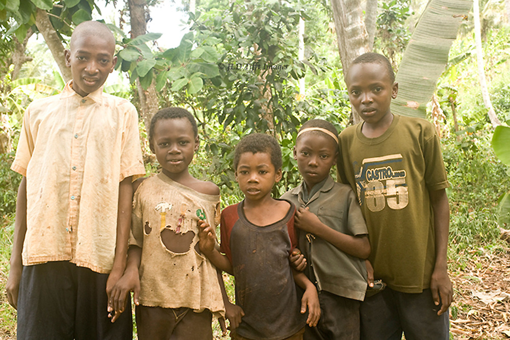 Five Zanzibari children line up uncomfortably for their photograph.