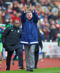 STOKE-ON-TRENT, ENGLAND - Saturday, April 30, 2016: Sunderland's manager Sam Allardyce celebrates a 1-1 draw against Stoke City during the FA Premier League match at the Britannia Stadium. (Pic by David Rawcliffe/Propaganda)