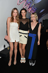 Left to right, ALICIA ROUNTREE, ELISA LASOWSKI and BILLIE JD PORTER at a party to celebrate 10 years of footware designer Nicholas Kirkwood held at 9 Adam Street, London on 19th September 2015.