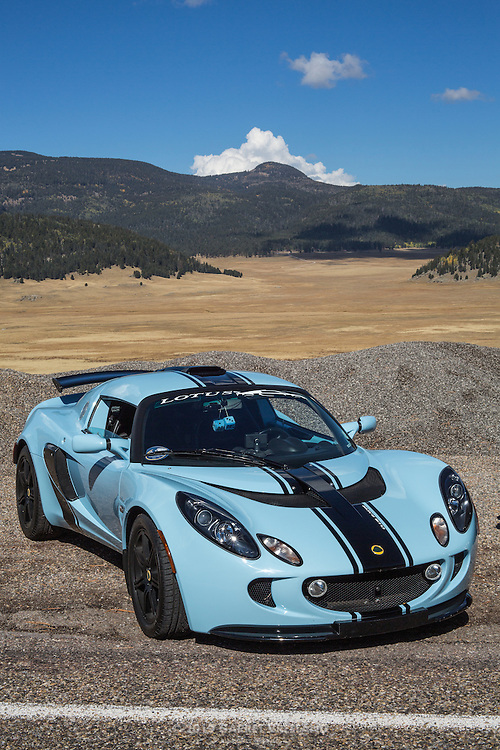 Lotus Exige, before the expanse of the Valles Caldera, on the 2012 Santa Fe Concorso High Mountain Tour.