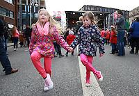 Sisters Emma [7] and Lucy [6] Carroll from Sligo pictured  during the Céilí Mór on Dublin's Earlsfort Terrace.Picture Credit; Frank Mc Grath<br /> 28/3/16