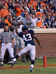 Connecticut wide receiver Terence Jeffers (80) has a reception broken up by Virginia cornerback Mike Parker (43)...The Virginia Cavaliers defeated the Connecticut Huskies 17-16 at Scott Stadium in Charlottesville, VA on October 13, 2007