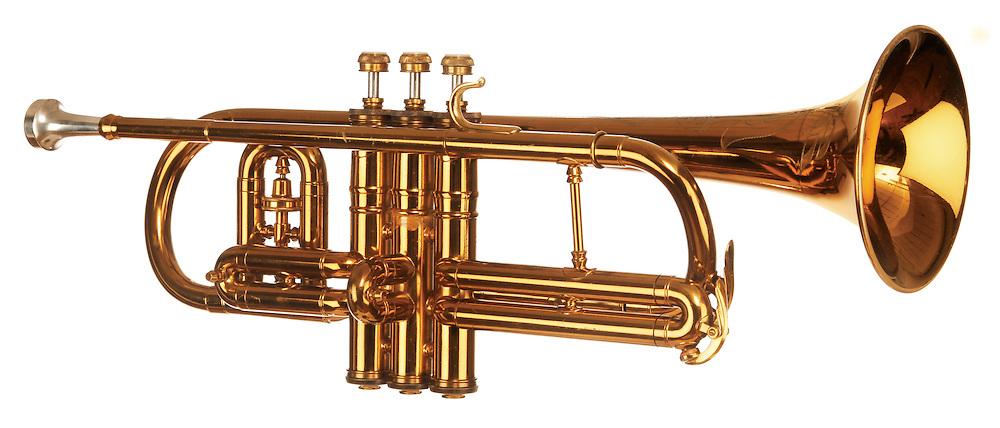 brass cornet shot at slight angle on white background